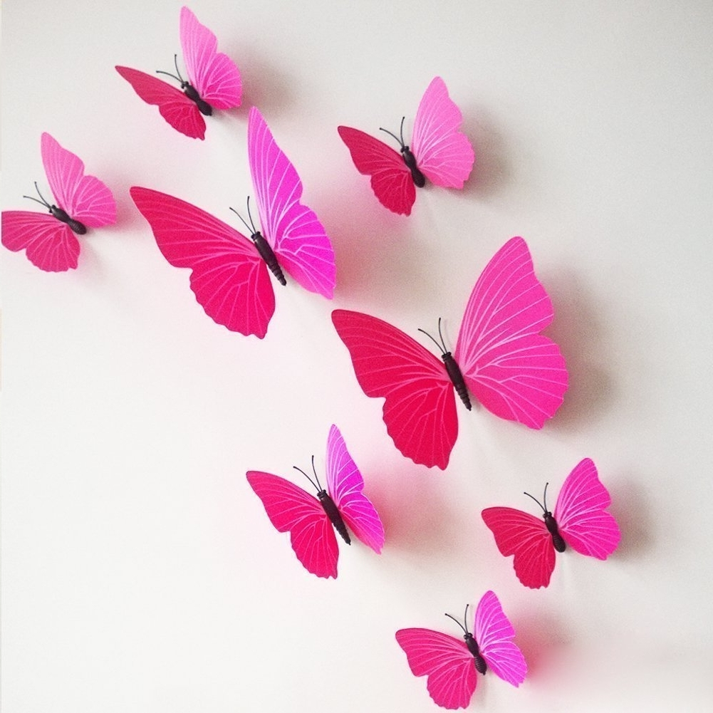 Well Known Butterflies 3D Wall Art Pertaining To Wall Stickers – 12 Pcs 3D Pvc Magnet Butterfly Sticker Art Design (View 15 of 15)