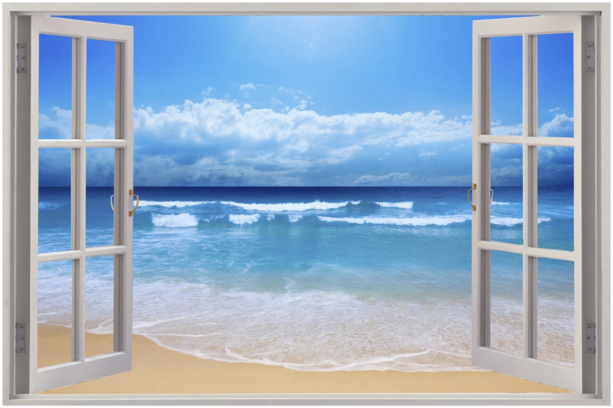 Well Known Cheap 3D Window View Exotic Beach Wall Sticker Film Mural Art In 3D Wall Art Window (Gallery 7 of 15)