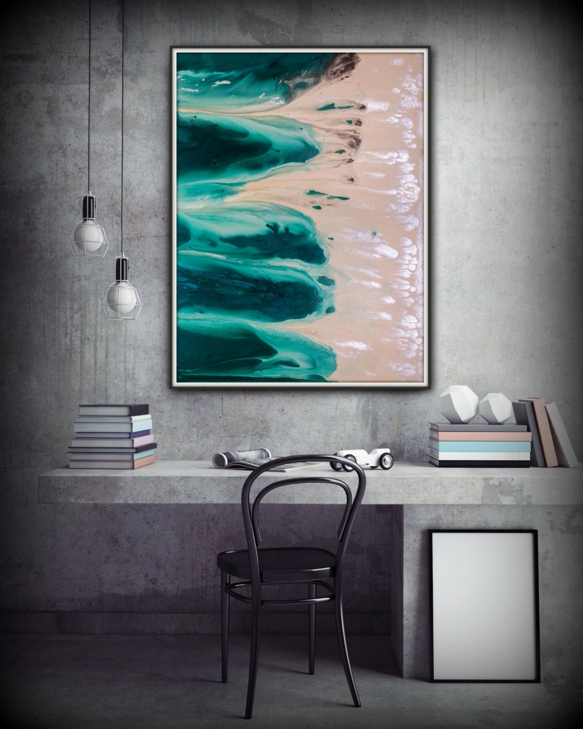Well Known Coastal Wall Art Canvas With Abstract Art Green Wall Art Coastal Landscape Giclee Large Print (View 14 of 15)