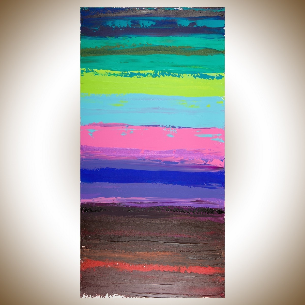 """Well Known Colorful Abstract 1Qiqigallery 48""""x24"""" Original Modern With Red And Turquoise Wall Art (View 13 of 15)"""