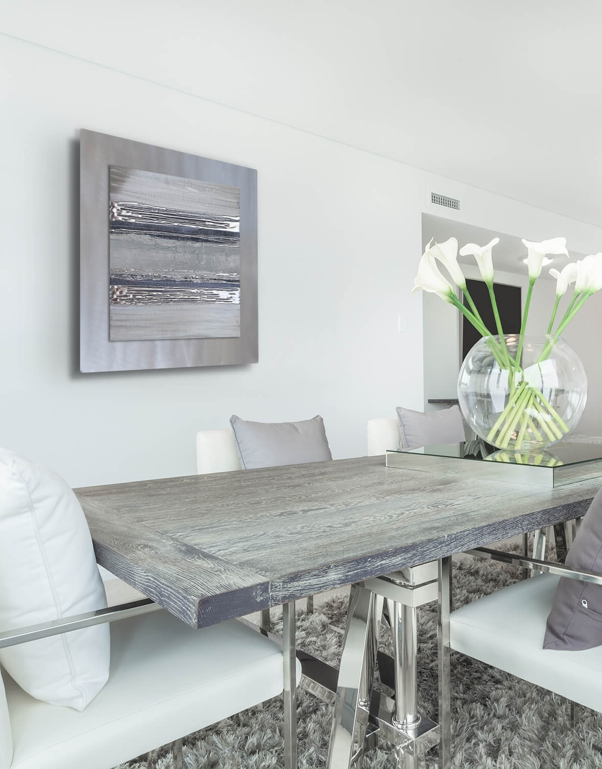Well Known Contemporary Square Silver Grey Ii – Silver Wall Art, Contemporary Inside Uk Contemporary Wall Art (Gallery 14 of 15)