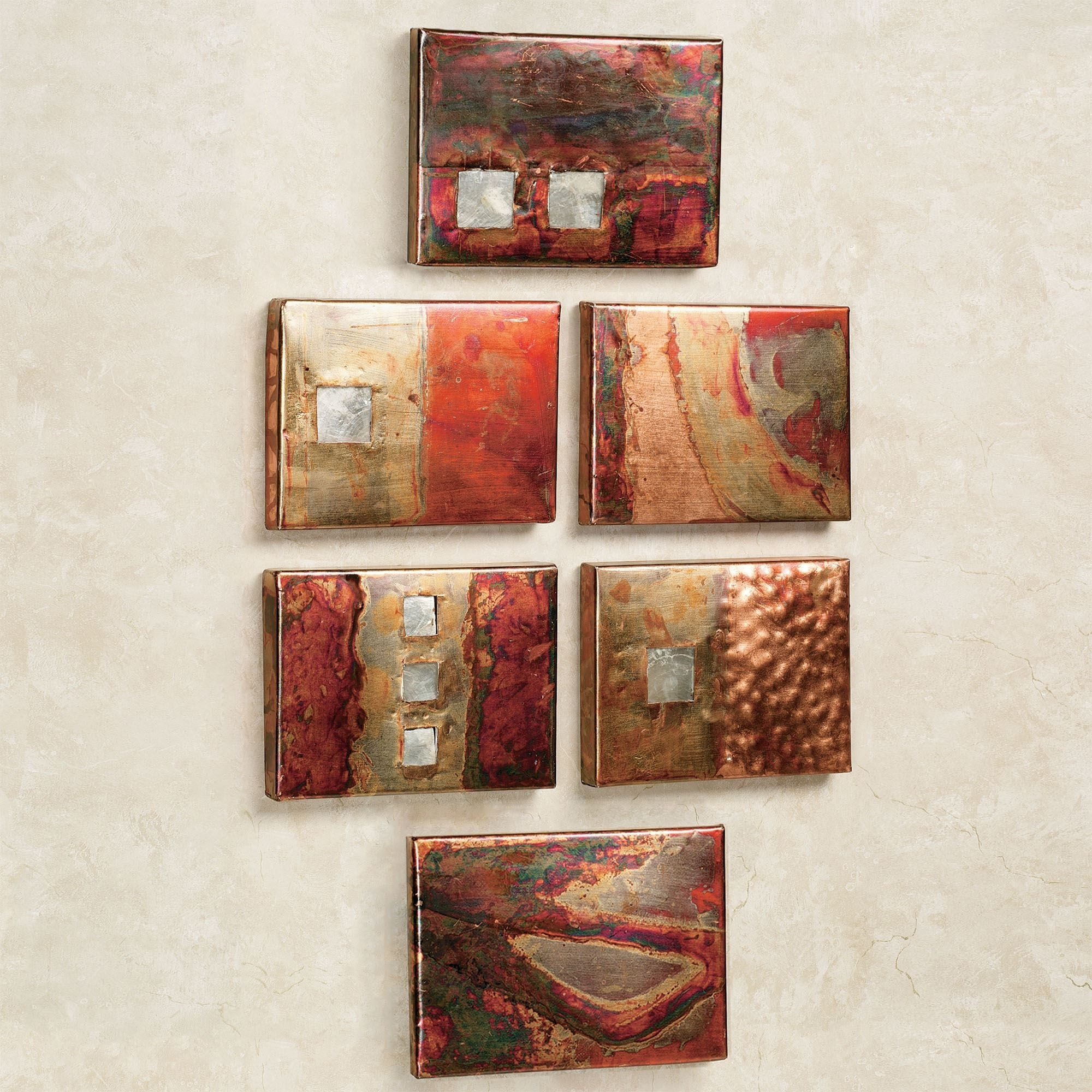 Well Known Copper Studio Metal Wall Art Plaque Set With Hammered Metal Wall Art (View 13 of 15)