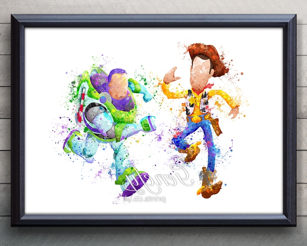 Well Known Disney Toy Story Woody And Buzz Lightyear Watercolor Painting Art Within Toy Story Wall Art (View 14 of 15)