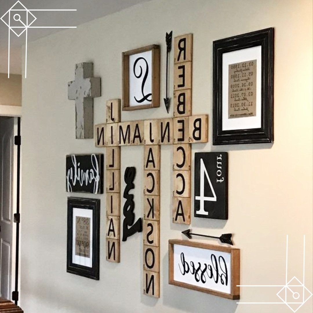 Well Known Diy Farmhouse Scrabble Wall Art Decorating Ideas – Diy Lifestyle Inside Scrabble Letter Wall Art (View 12 of 15)