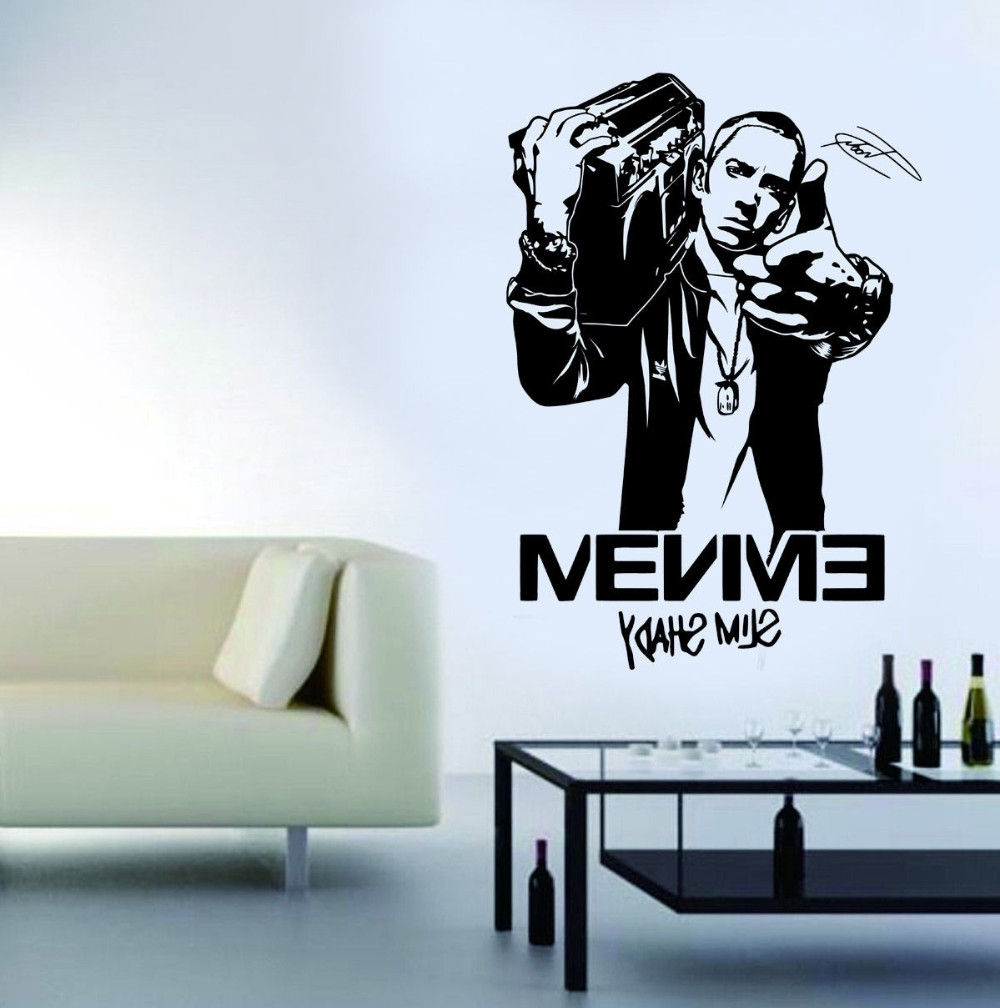 Well Known Eminem Wall Art With Wall Art Stickers For Boys Bedroom Design Mural Eminem Rapper (View 15 of 15)