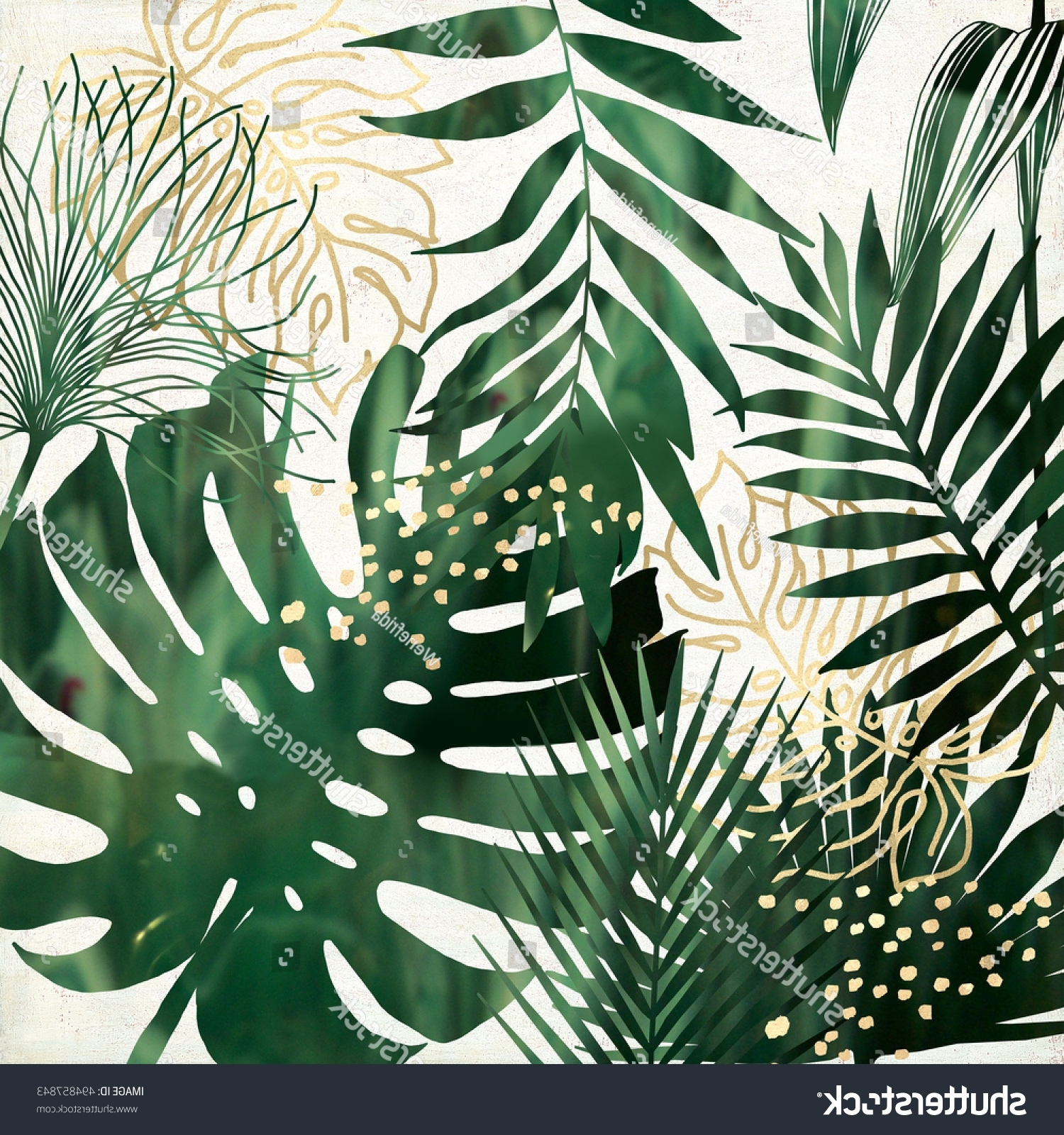 Well Known Exotic Wall Art In Green Gold Exotic Leaves Printable Wall Stock Illustration (View 13 of 15)