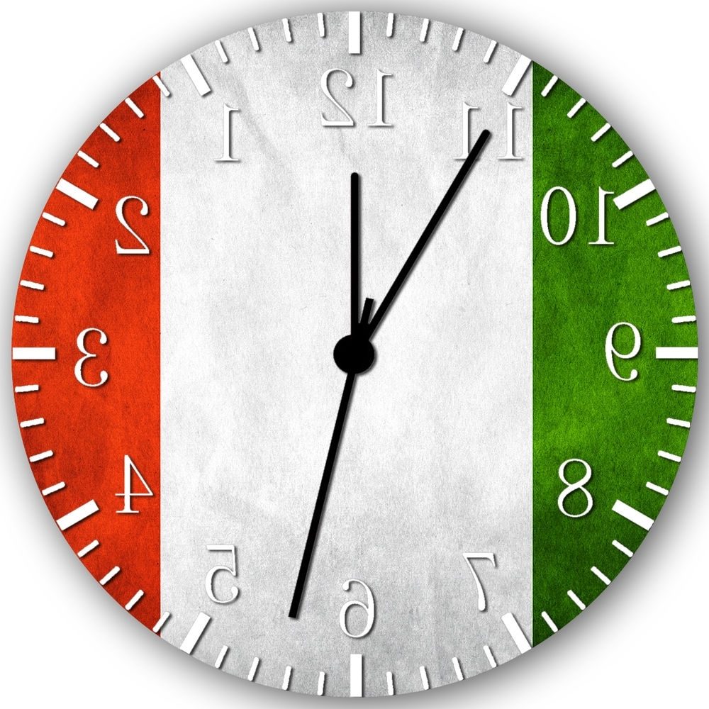 "Well Known Flag Of Italy Italian Flag Wall Clock 10"" Nice Gift And Room Wall With Italian Ceramic Wall Clock Decors (View 11 of 15)"