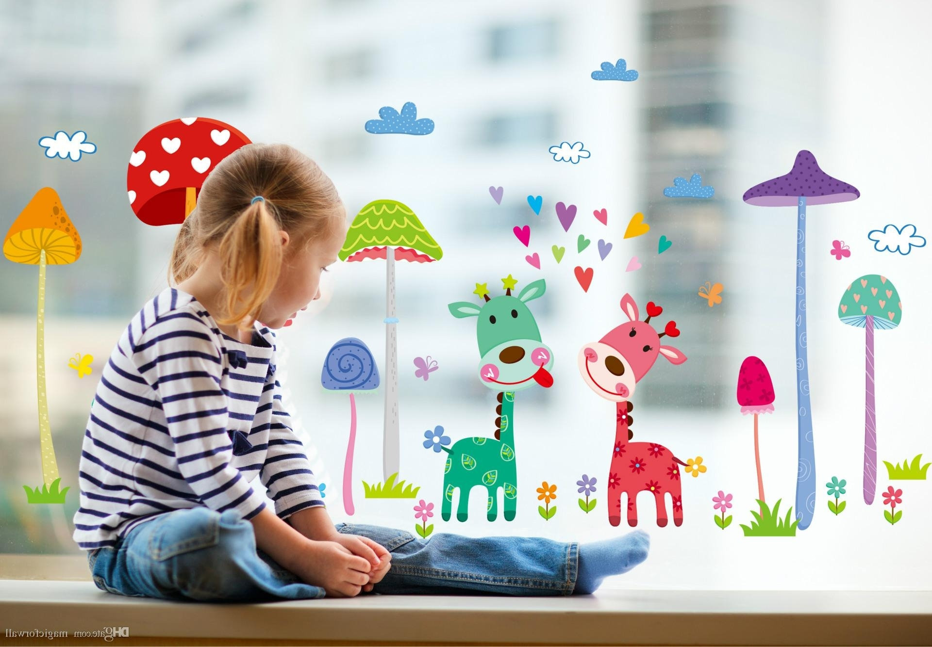 Well Known Forest Mushroom Deer Animals Home Wall Art Mural Decor Kids Babies Pertaining To Mushroom Wall Art (View 12 of 15)