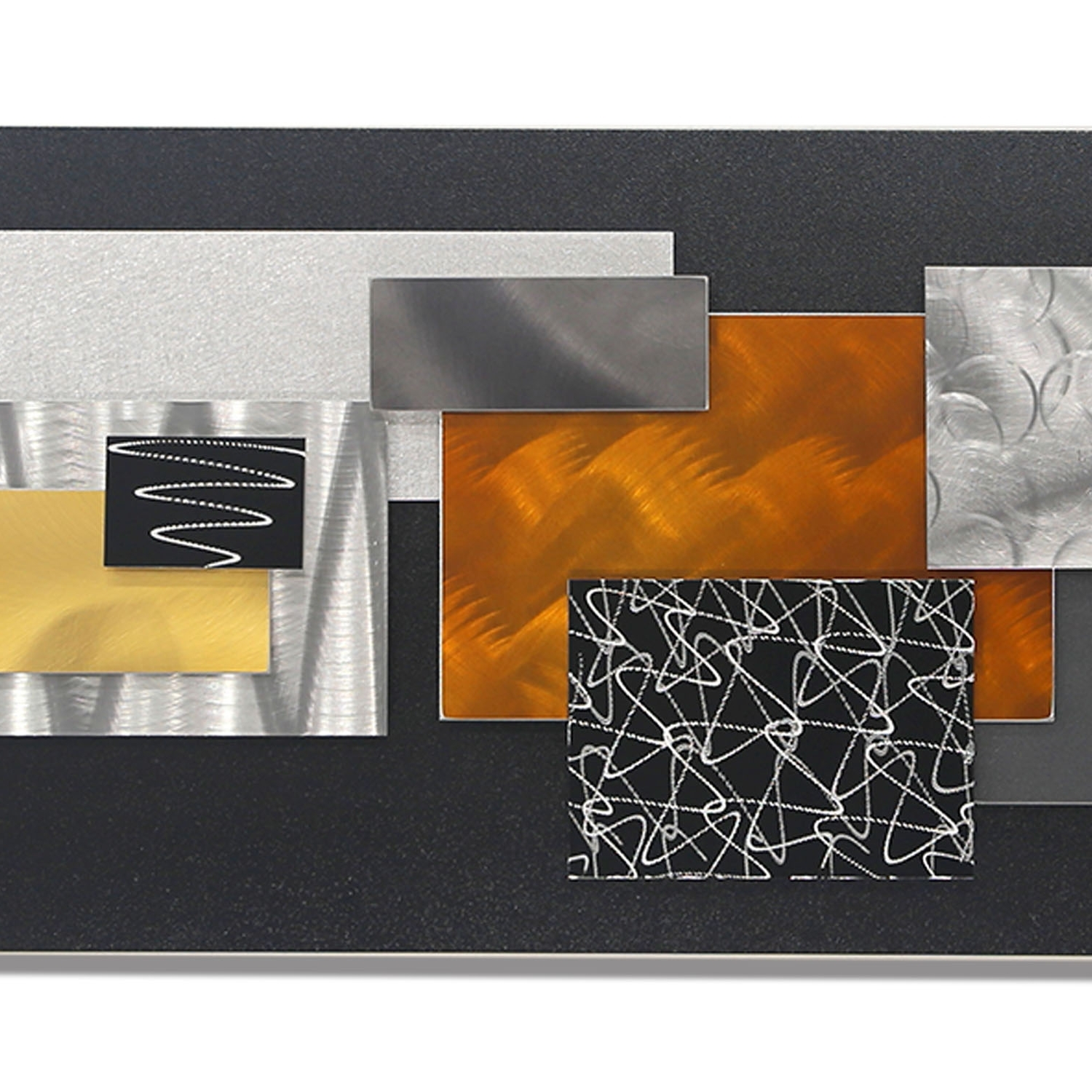 Well Known Geometric Modern Metal Abstract Wall Art Intended For City In Falljon Allen – Black, Silver, Gold & Copper Geometric (View 6 of 15)