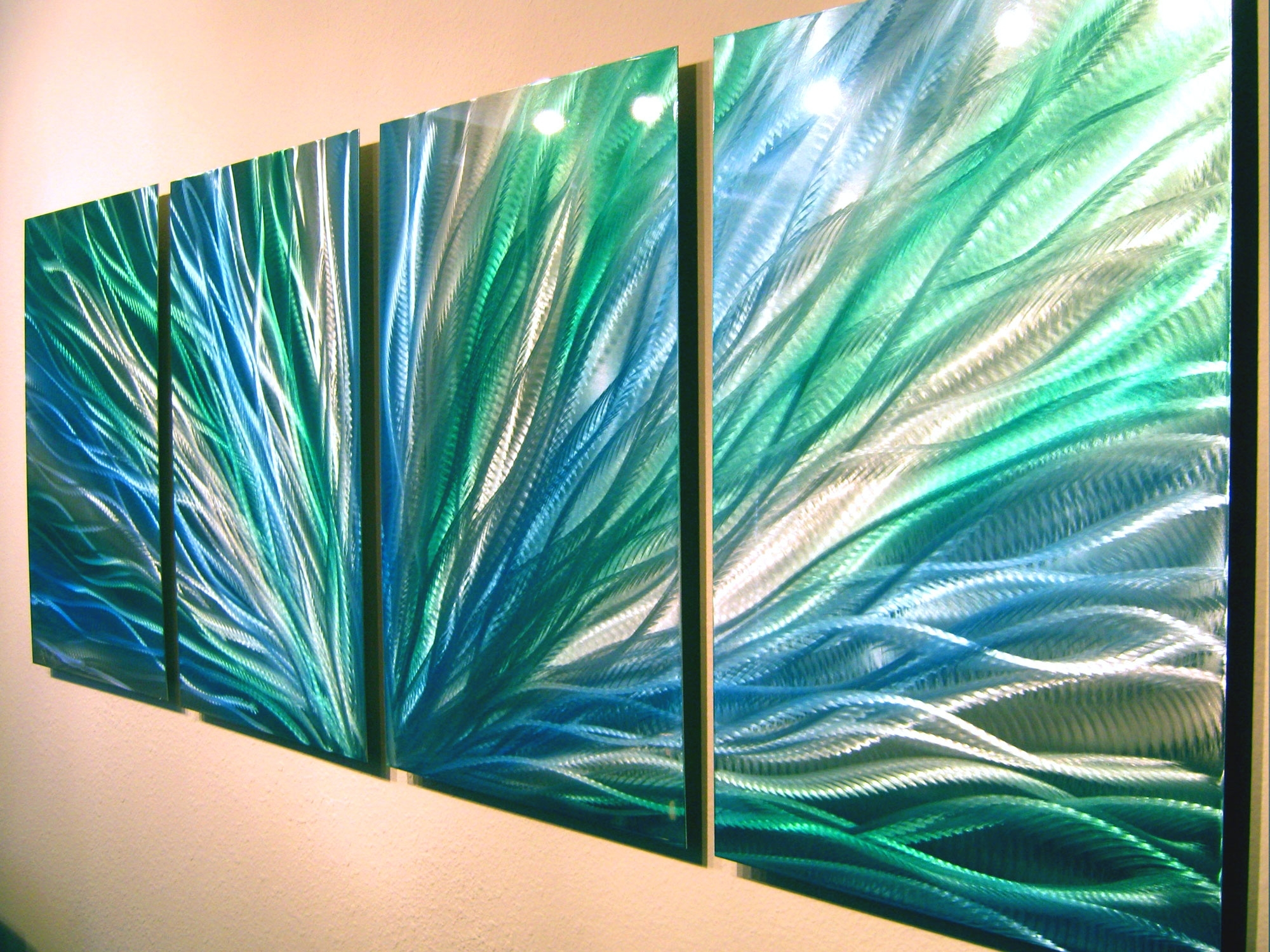 Well Known Green Abstract Wall Art Throughout Radiance Blue Green  Abstract Metal Wall Art Contemporary Modern (View 14 of 15)
