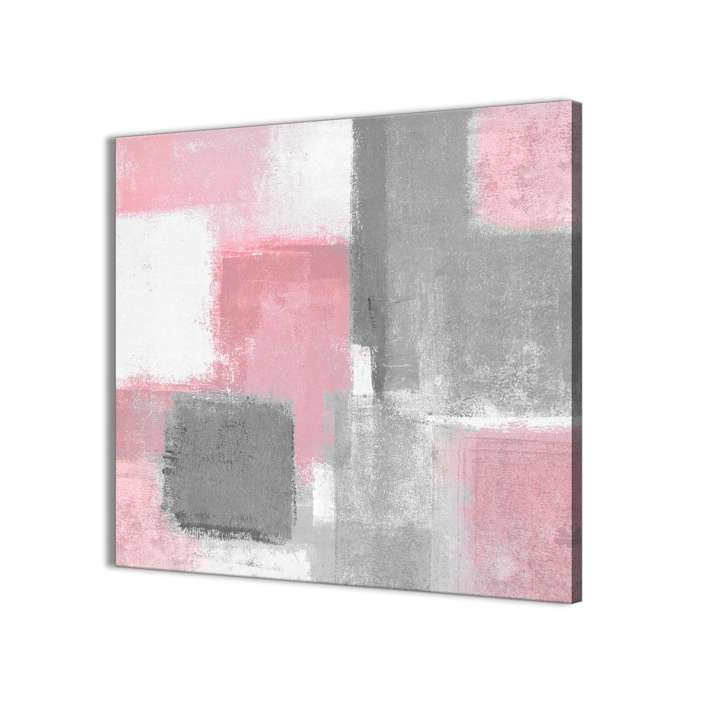 Well Known Grey Abstract Canvas Wall Art With Regard To Blush Pink Grey Painting Hallway Canvas Wall Art Decorations (View 3 of 15)