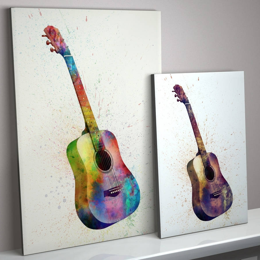 Well Known Guitar Canvas Wall Art With Acoustic Guitar Watercolour Abstract Art Printartpause (View 14 of 15)