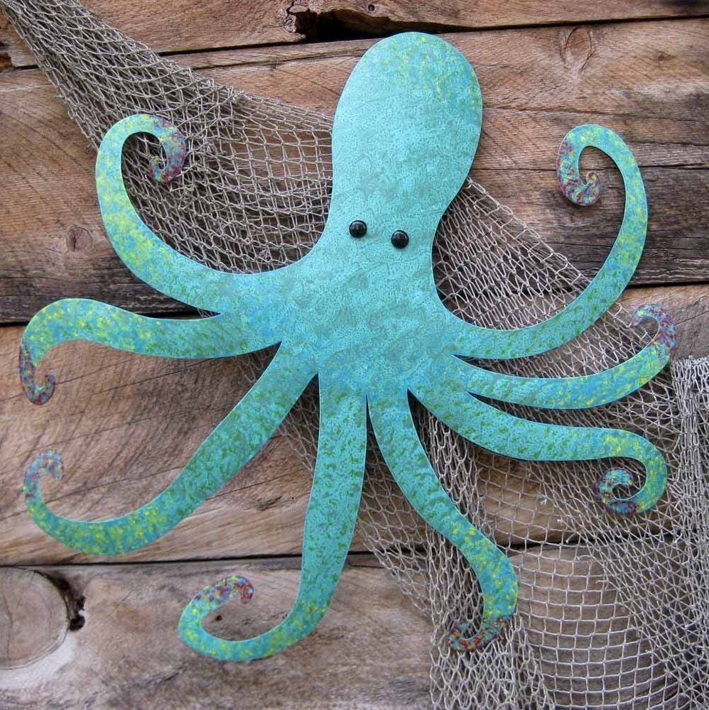 Well Known Handmade Large Metal Octopus Wall Sculpture Ocean Wall Decor Teal Within Large Starfish Wall Decors (View 14 of 15)