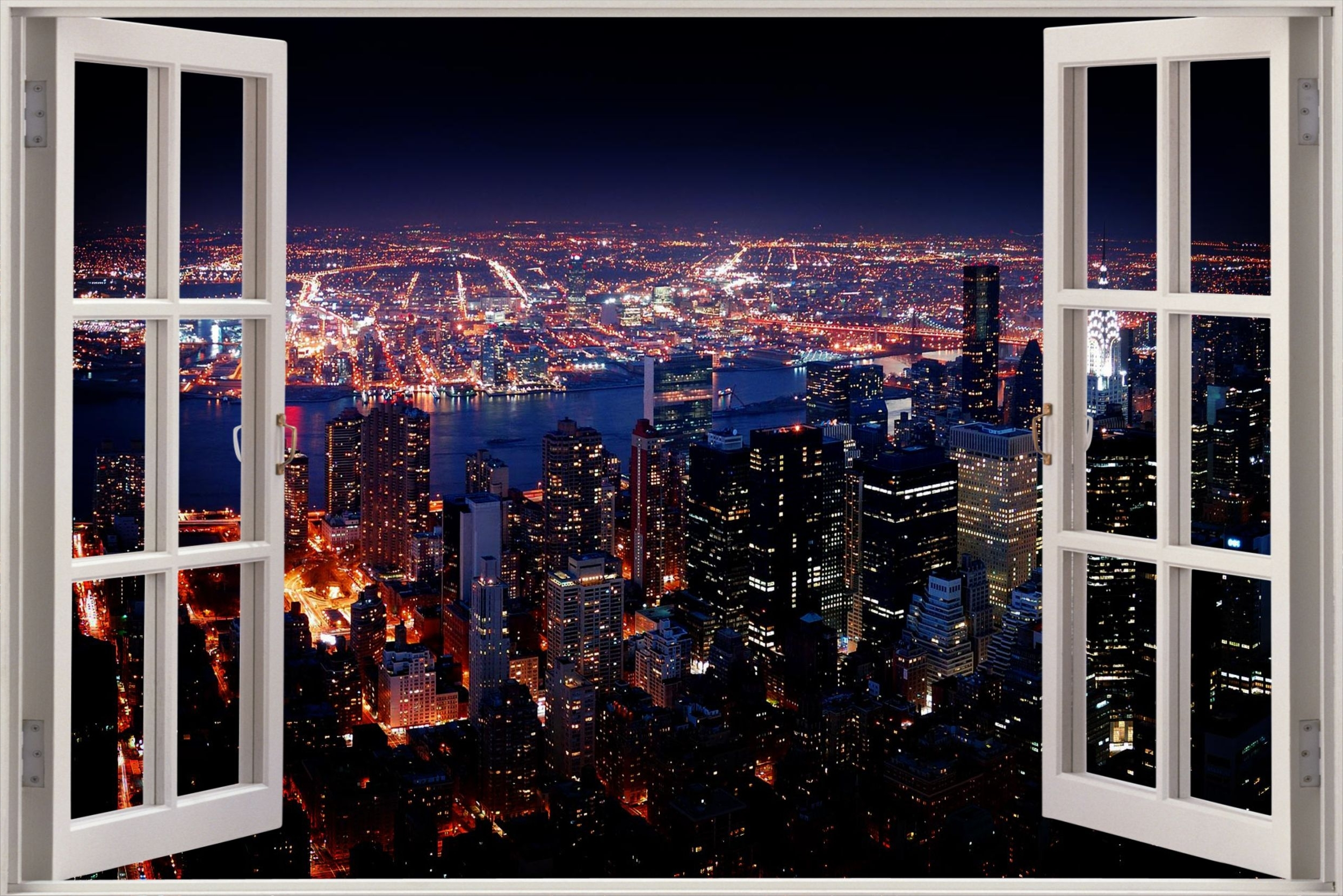 Well Known Huge 3D Window View New York City Wall Sticker Film Mural Art In New York 3D Wall Art (View 15 of 15)