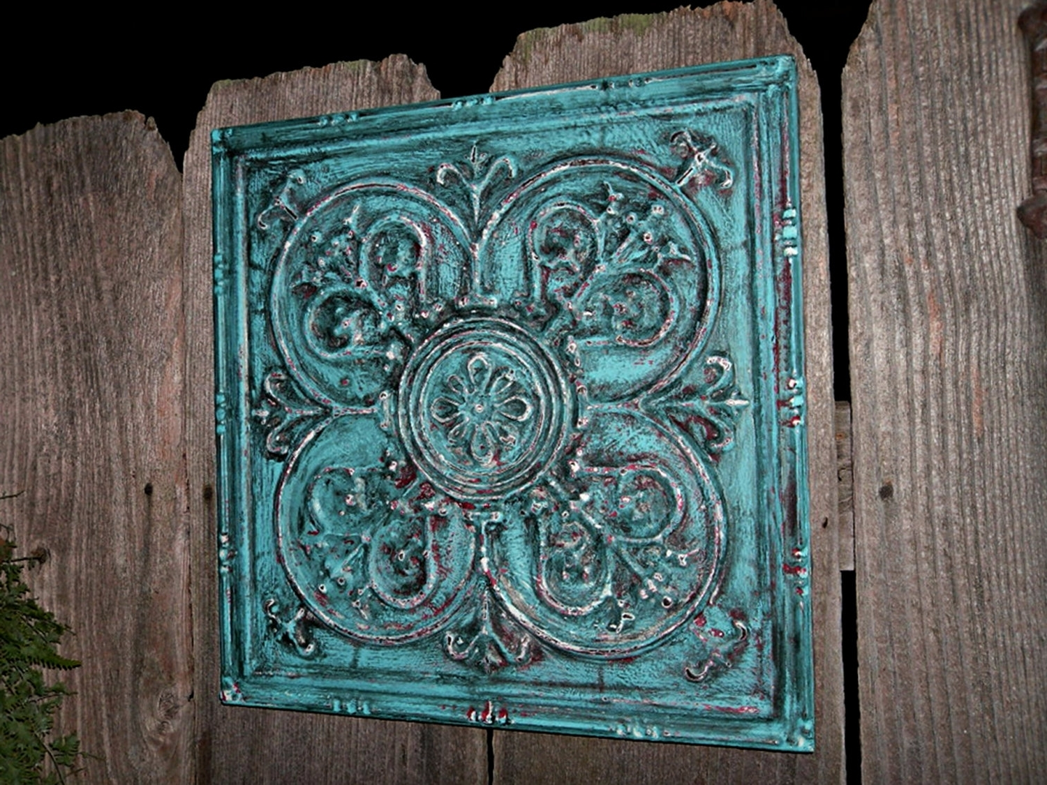 Well Known Jeweled Metal Wall Art Inside Shining Turquoise Metal Wall Art Brown And For Kitchen Gray (View 14 of 15)