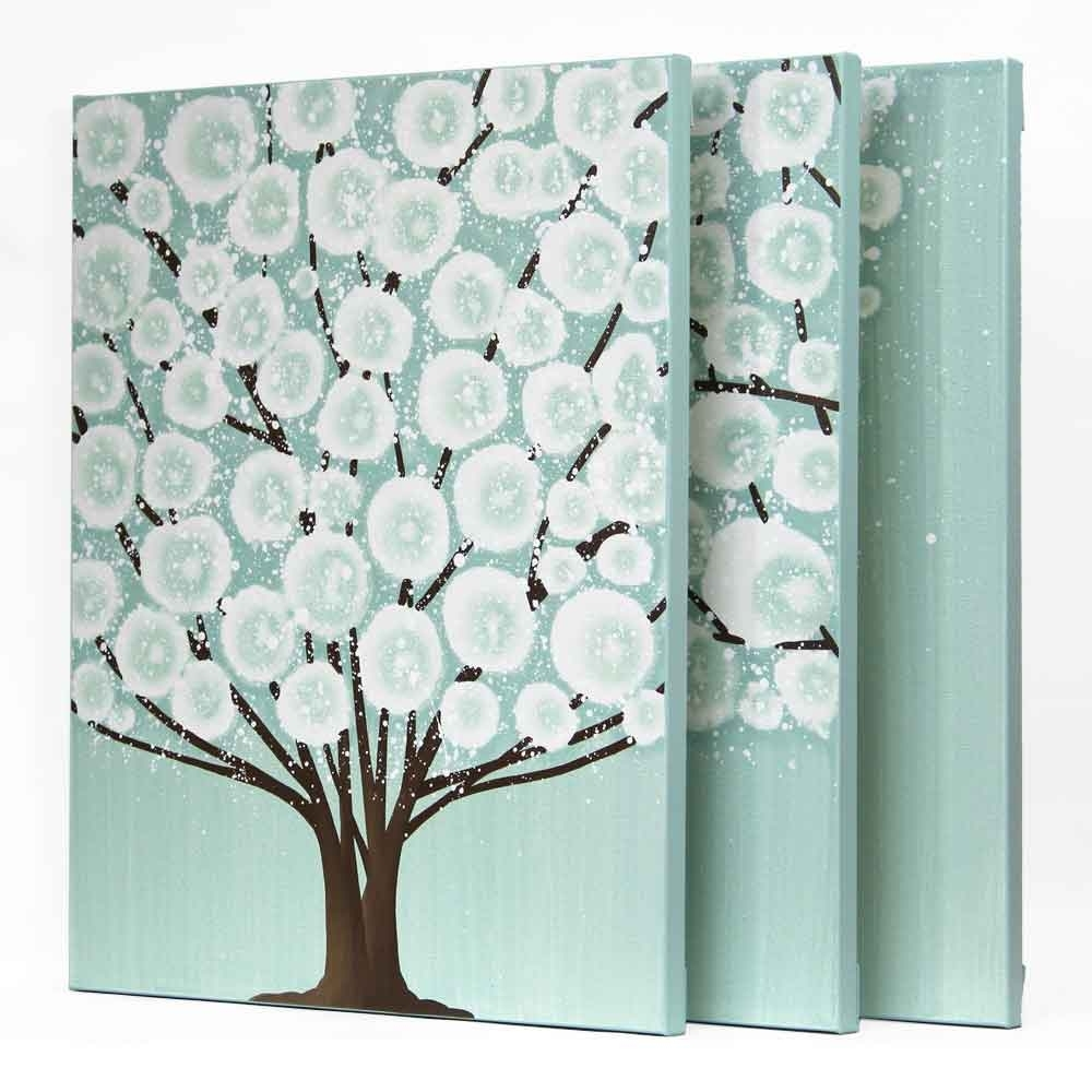 Well Known Large Triptych Wall Art Inside Canvas Wall Art Tree Painting Triptych In Teal Brown – Large (View 13 of 15)