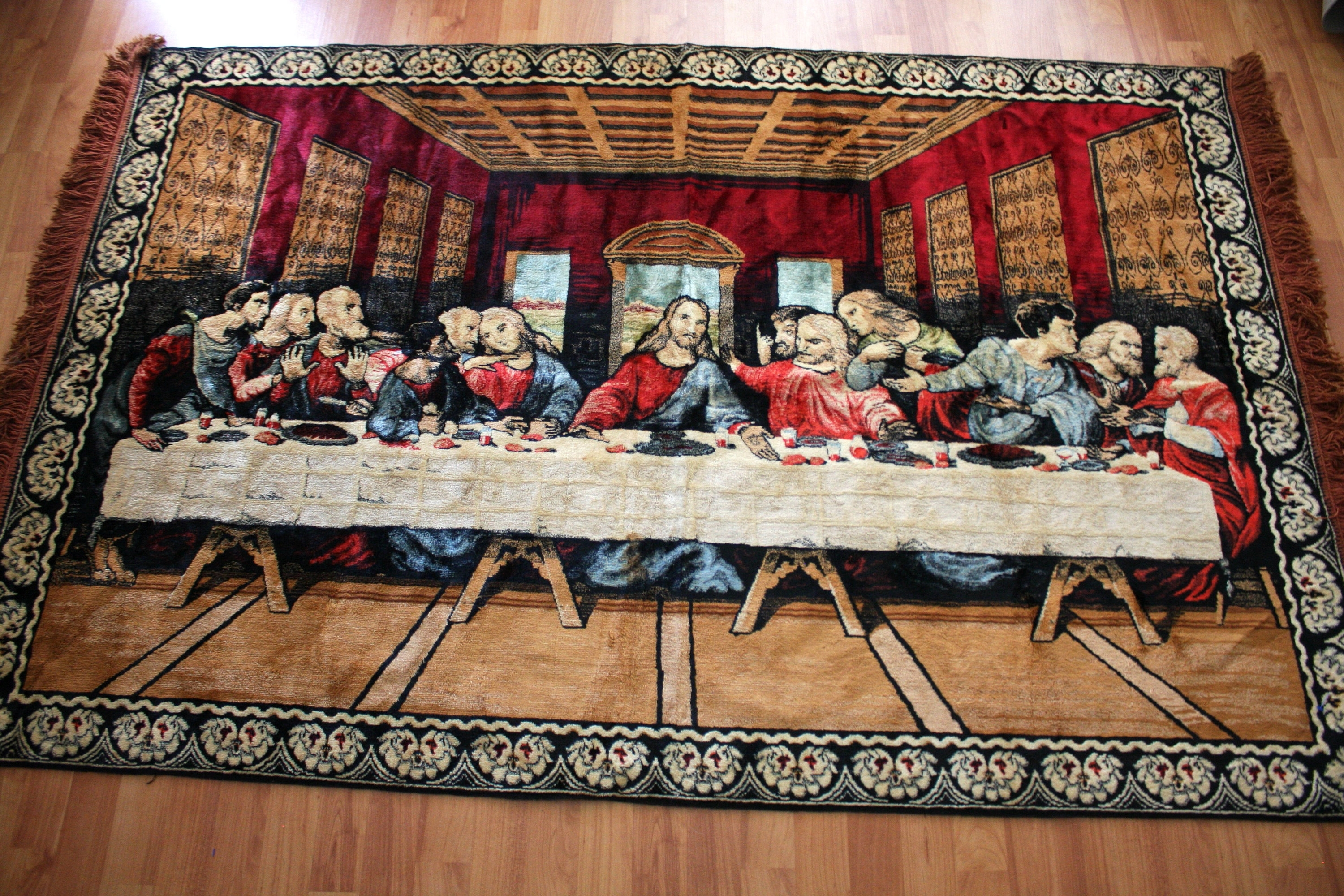 Well Known Last Supper Wall Art Inside Vintage Huge Last Supper Jesus Tapestry Or Rug (View 11 of 15)