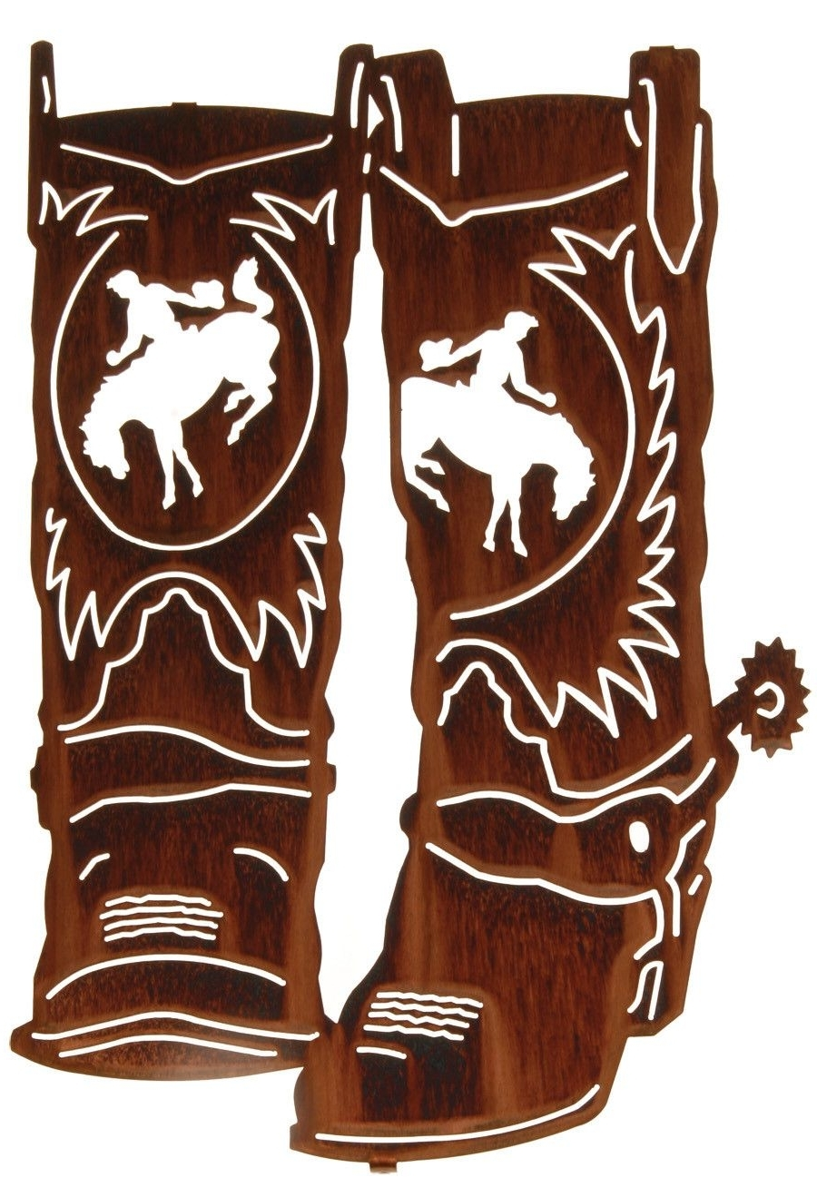Well Known Lazart Metal Wall Art With Regard To Cowboy Boots With Spurs Metal Wall Art (View 6 of 15)