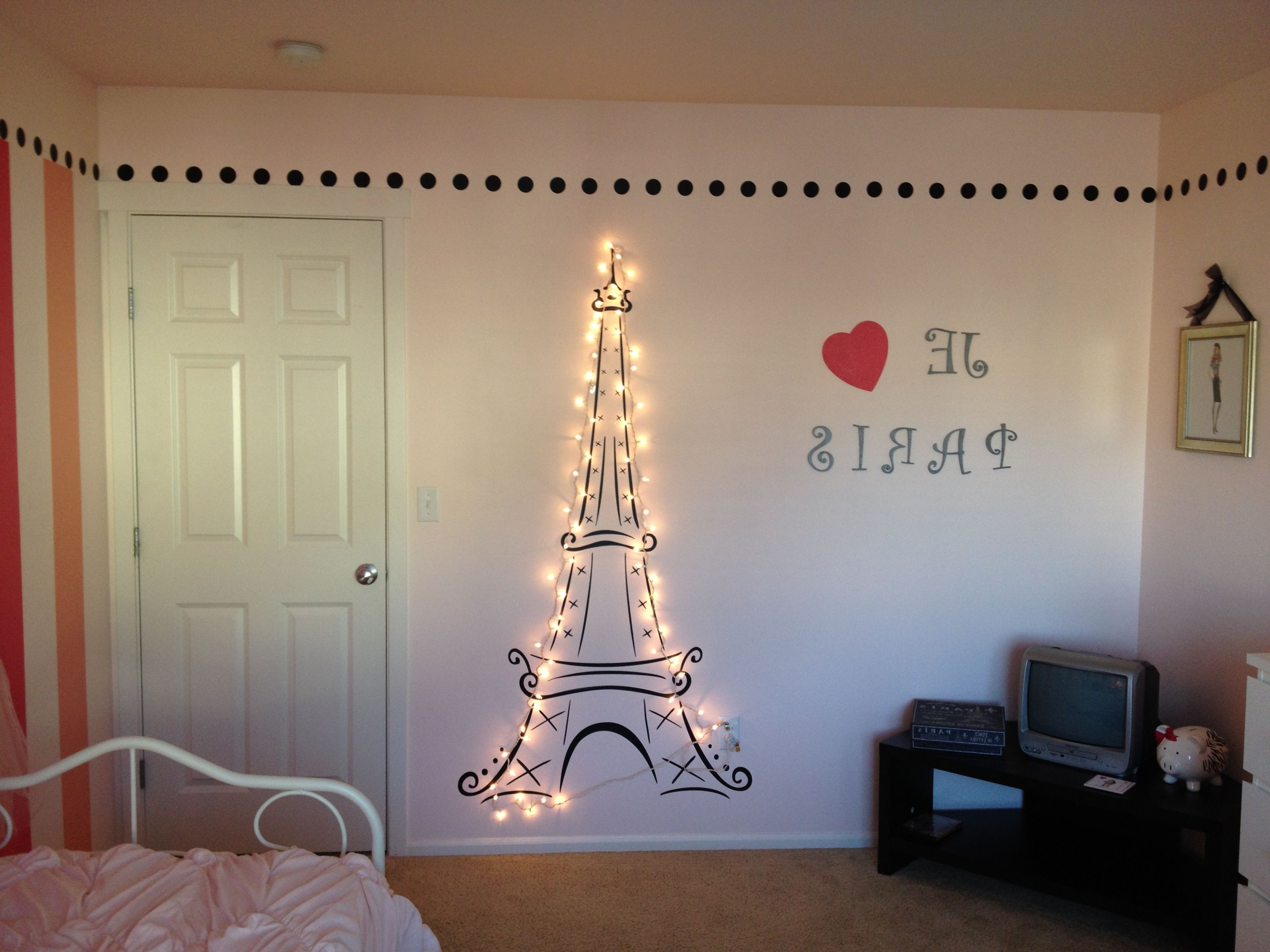 Well Known Lit Eiffel Tower For My Daughter's Paris Themed Room! (View 15 of 15)