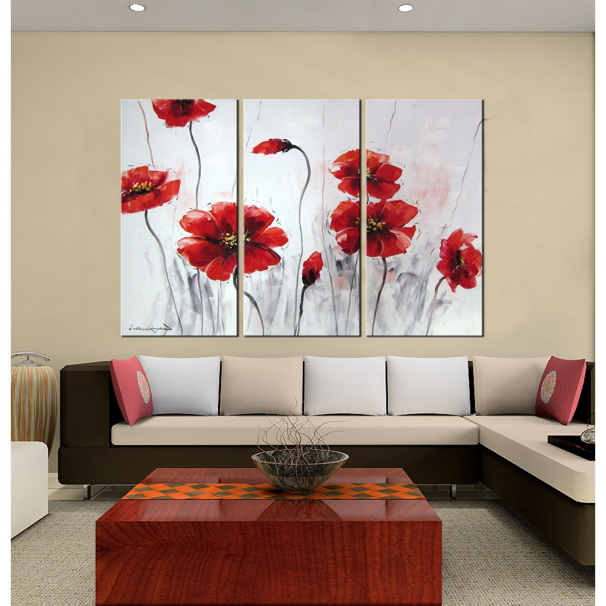 Well Known Li>title: Red Flowers</li><li>product Type: Hand Painted Gallery Regarding Matching Wall Art Set (View 10 of 15)