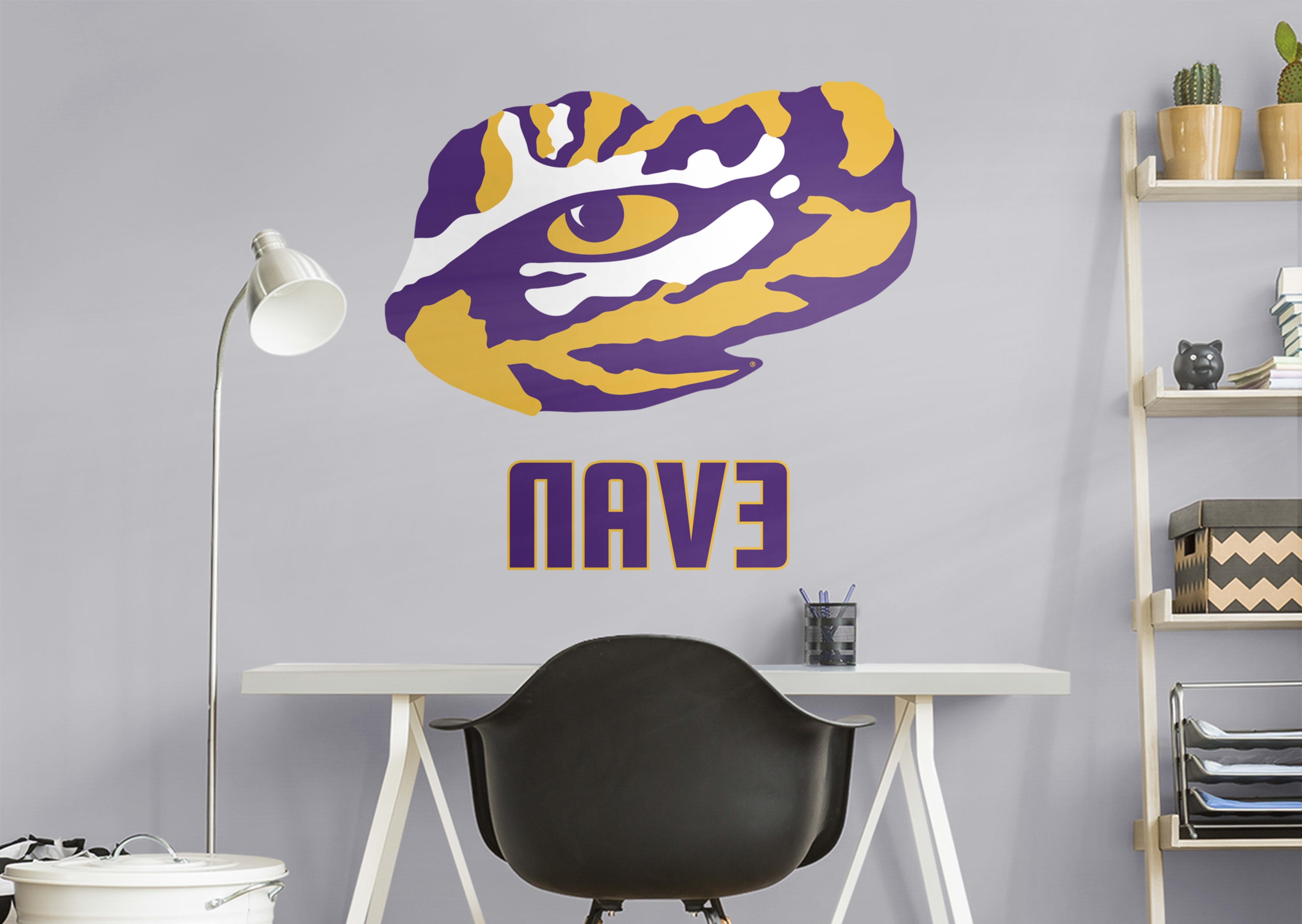 "Well Known Lsu Tigers ""eye Of The Tiger"" Stacked Personalized Name Wall Decal Regarding Lsu Wall Art (View 15 of 15)"