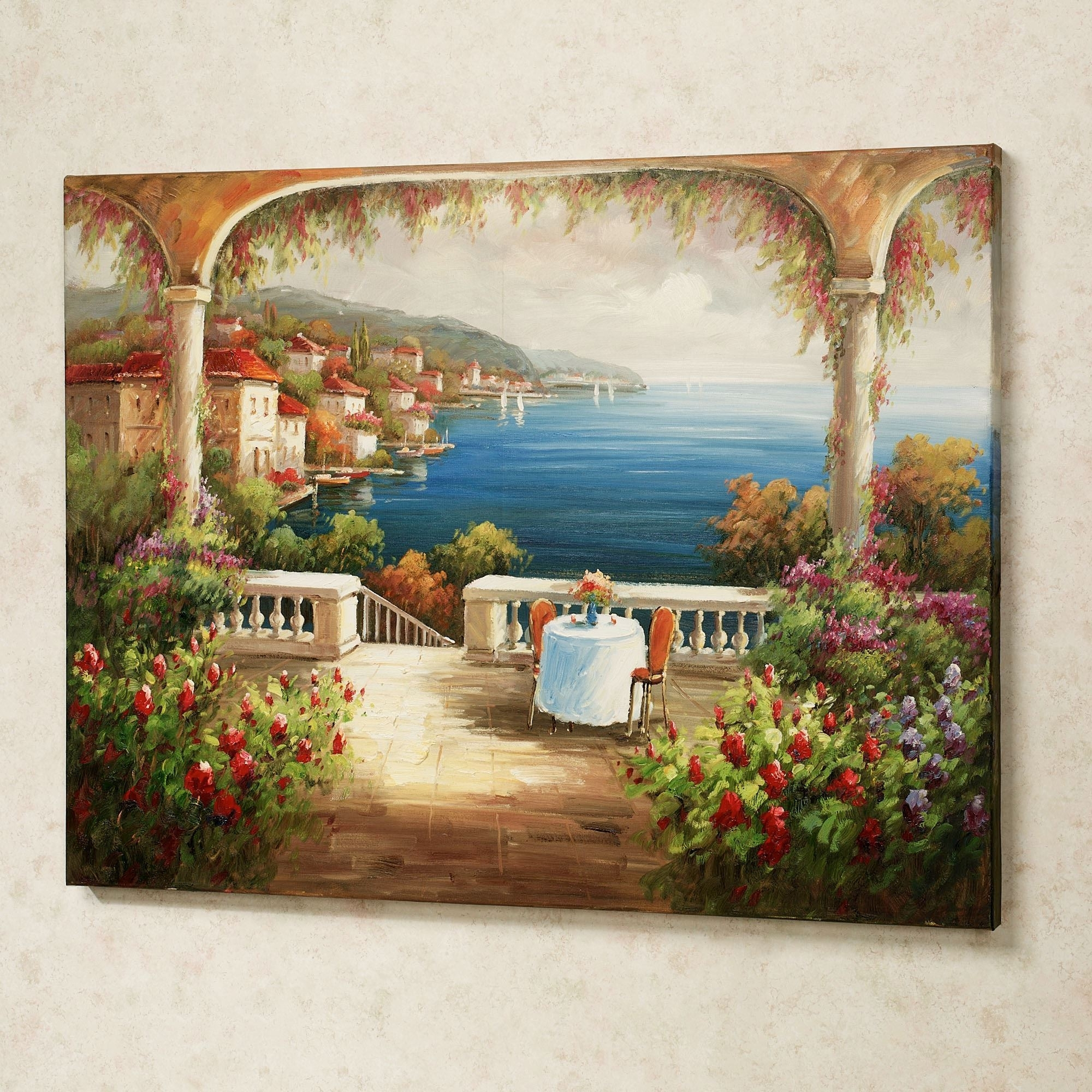 Well Known Lunch With A View Handpainted Canvas Art Intended For Tuscan Italian Canvas Wall Art (View 13 of 15)