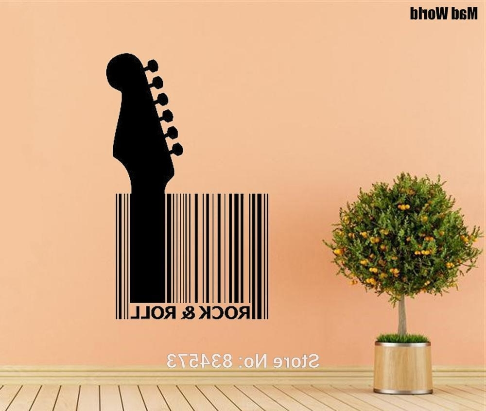 Well Known Mad World Guitar Barcode Rock Roll Wall Art Stickers Wall Decal For Rock And Roll Wall Art (View 14 of 15)
