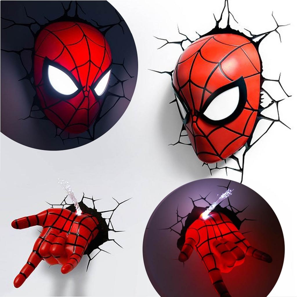 Well Known Marvel Avengers Spider Man Mask Head Face + Hand 3d Deco Wall Led For The Avengers 3d Wall Art Nightlight (View 15 of 15)