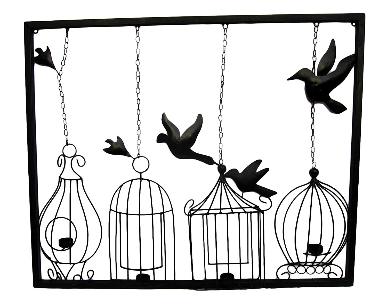 Well Known Metal Birdcage Wall Art Intended For Freelogix Birdcage Tealight Metal Wall Art With Candle Holders (View 13 of 15)