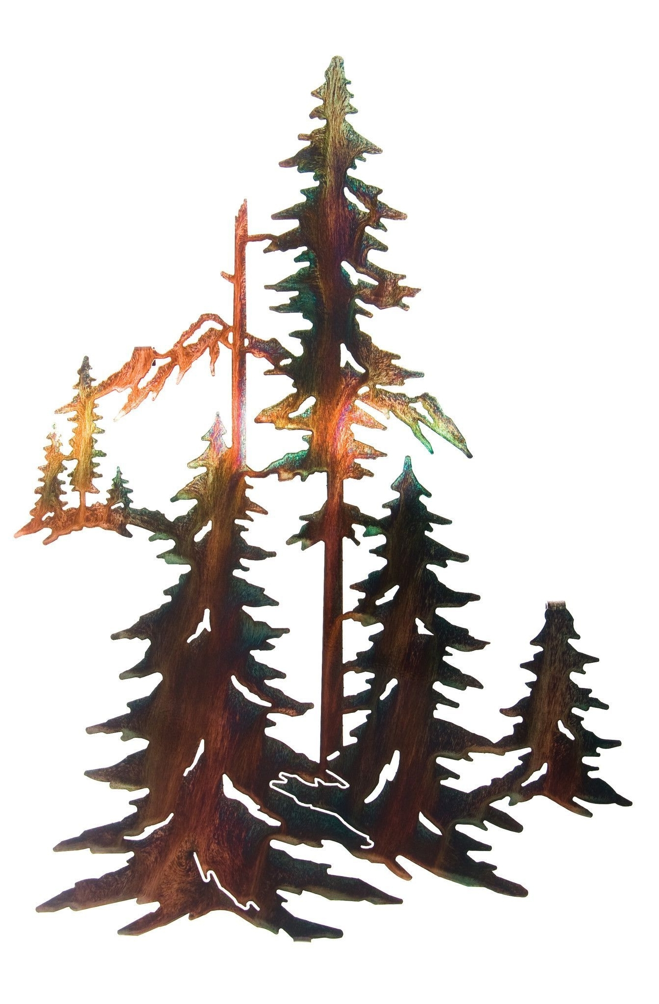 "Well Known Metal Pine Tree Wall Art Intended For Pine Trees Forest Metal Wall Art 12.25"" Width X  (View 14 of 15)"