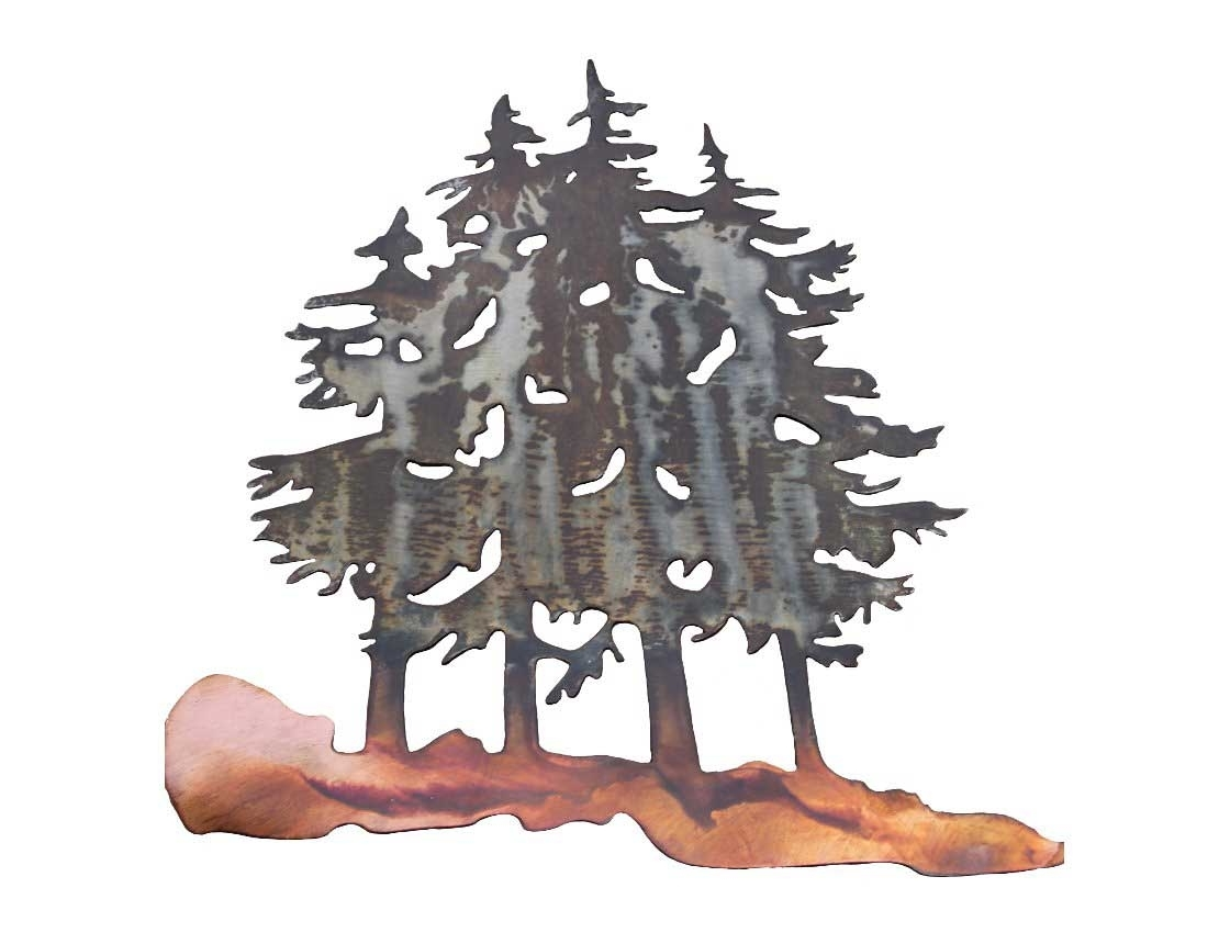 Well Known Metal Pine Tree Wall Art Pertaining To Smw277 Metal Decor Wall Art Forest Pine Trees – Sunriver Metal Works (View 4 of 15)