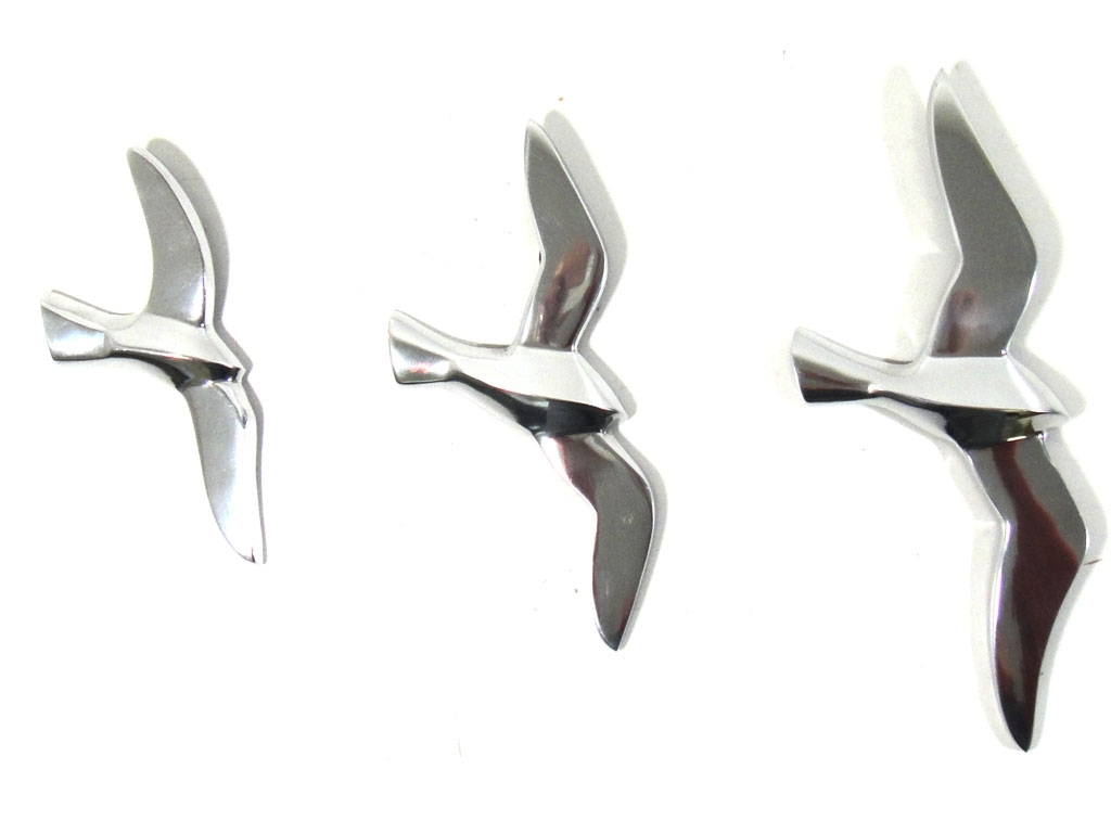 Well Known Metal Wall Art Birds In Flight Regarding Metal Wall Art – Set Of 3 Flying Seagull Birds (View 3 of 15)