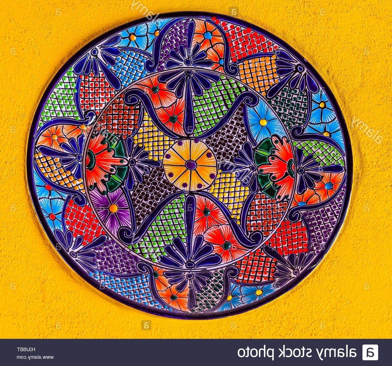 Well Known Mexican Ceramic Wall Art For Colorful Ceramic Mexican Plate Yellow Wall Guanajuato Mexico Stock (View 14 of 15)