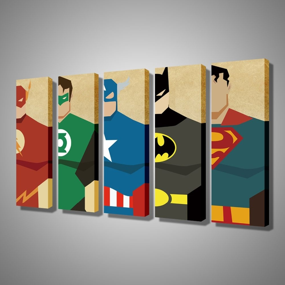 Well Known Modular Wall Art Within Oil Painting Canvas Super Hero Superman Batman Cartoon Modular (View 15 of 15)
