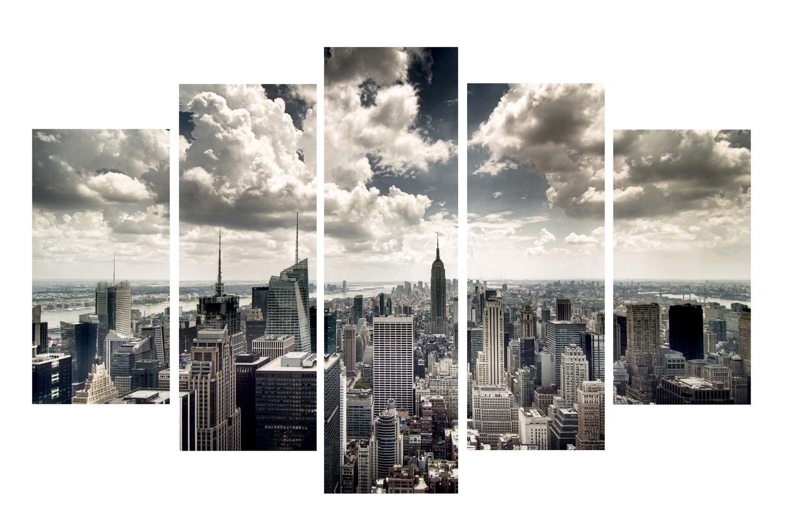 Well Known New York Skyline Canvas Black And White Wall Art Regarding New York City Skyline Window View Art Printicanvas Icanvas (View 4 of 15)
