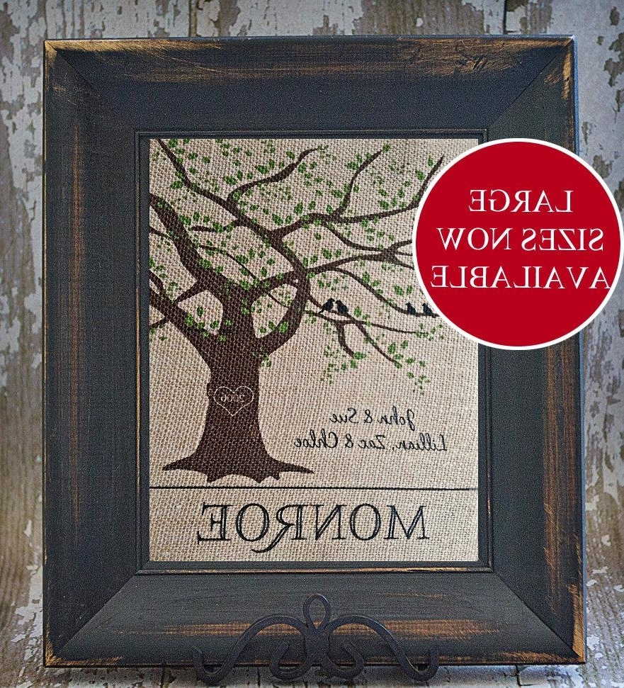 Well Known Oak Tree Personalized Burlap Family Tree With Family Name, Birds Throughout Oak Tree Wall Art (View 13 of 15)