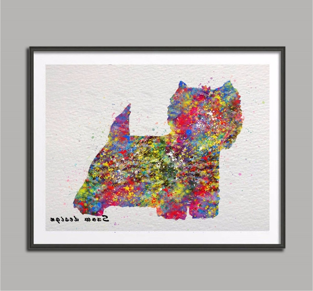 Well Known Original Watercolor Westie West Highland Terrier Canvas Painting Regarding Westie Wall Art (View 11 of 15)