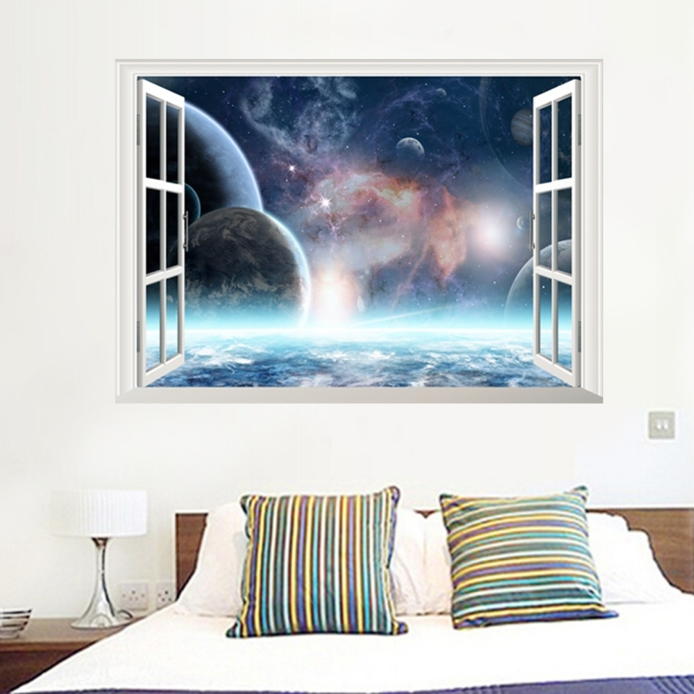 Well Known Outer Space Planet Window Galaxy Stars Full Colour Wall Art With Outer Space Wall Art (View 4 of 15)
