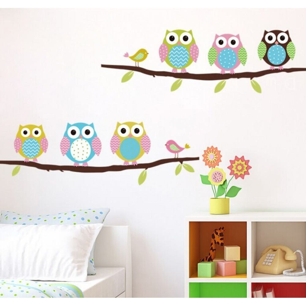 Well Known Owl Wall Art Stickers Within Cute Owl Wall Sticker On The Branch (View 13 of 15)