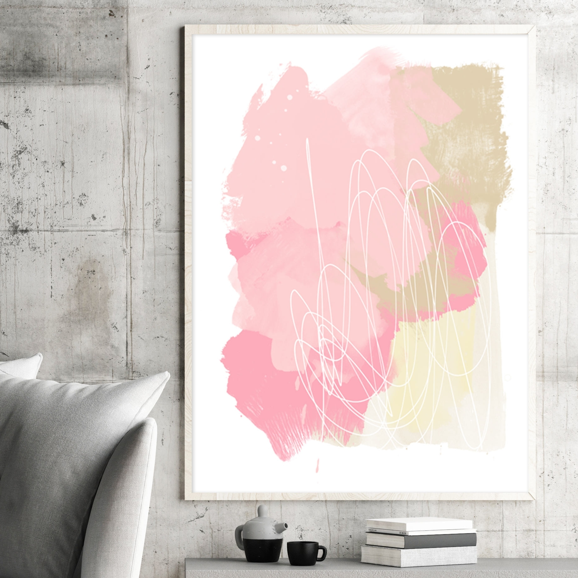 Well Known Pale Pink Abstract Art, Pink And Beige Painting, Printable Modern Throughout Pink Abstract Wall Art (View 5 of 15)