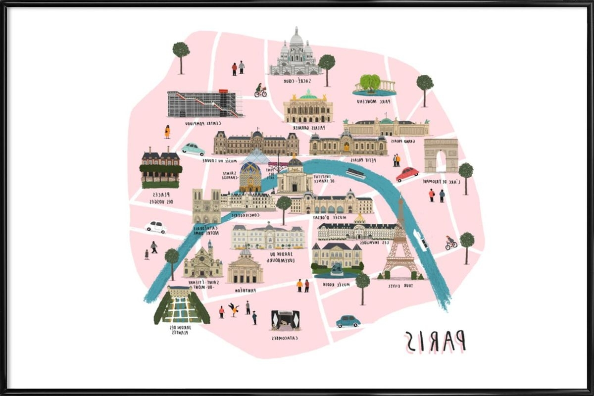 Well Known Paris Map As Poster In Standard Framealex Foster (View 15 of 15)