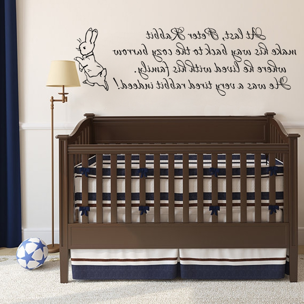 Well Known Peter Rabbit Wall Decal Baby Nursery Wall Sticker Vinyl Lettering Regarding Peter Rabbit Nursery Wall Art (View 15 of 15)