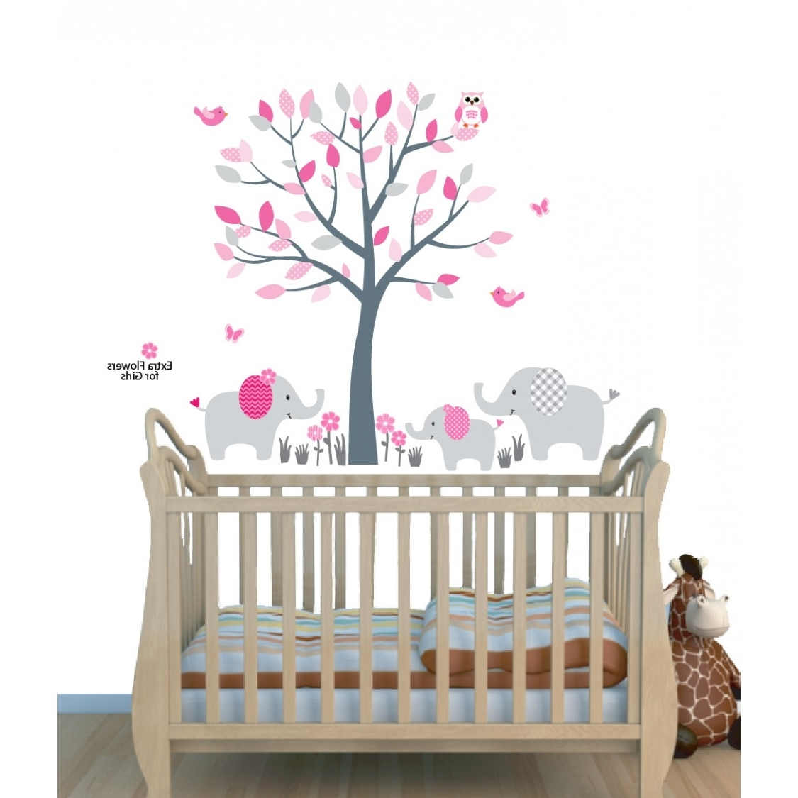Well Known Pink Jungle Tree Wall Art For Nursery With Elephant Wall Decor For Throughout Elephant Wall Art For Nursery (View 13 of 15)