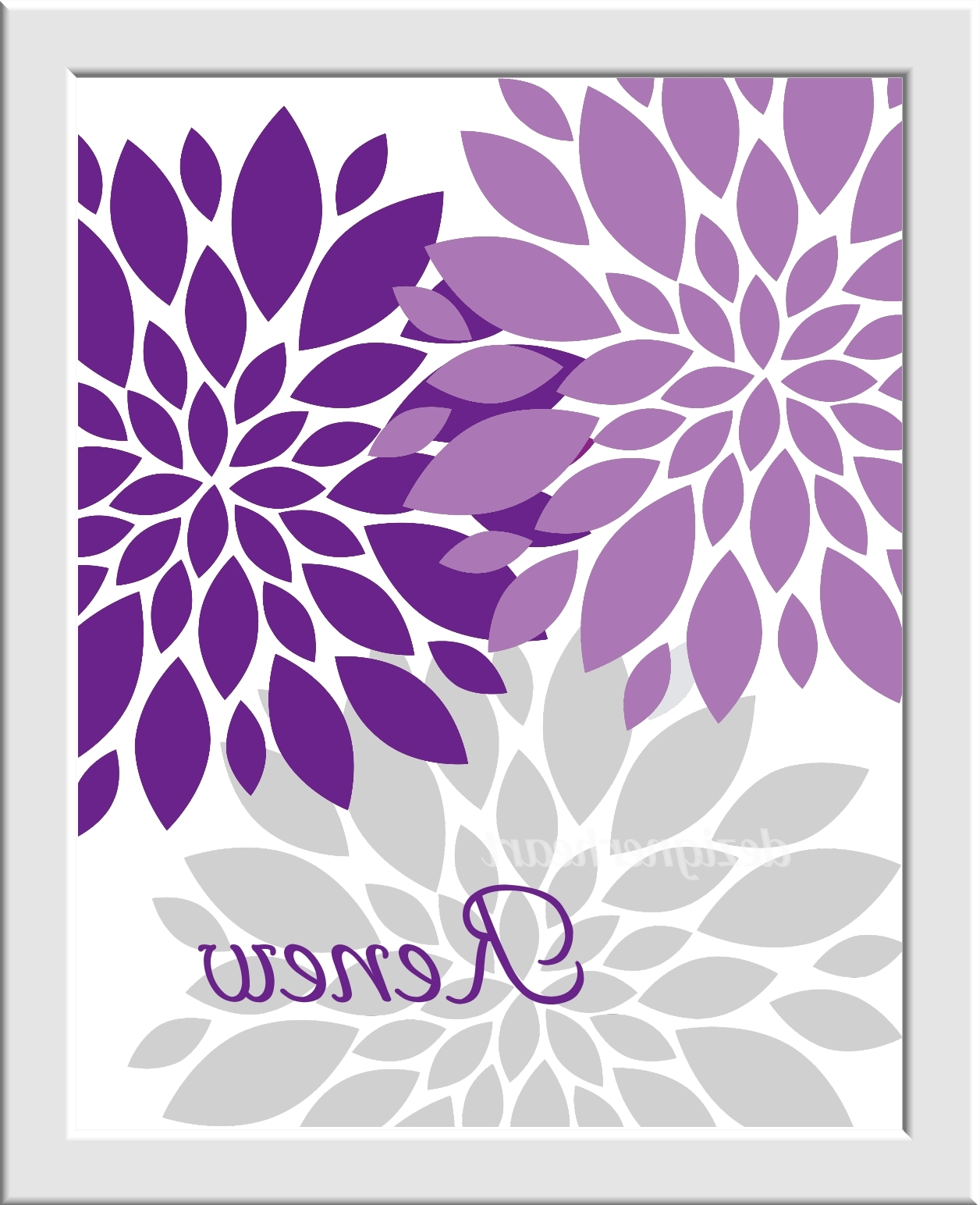 Well Known Purple Bathroom Wall Art Lavender Gray Purple Flower Bursts Pertaining To Purple Bathroom Wall Art (Gallery 3 of 15)
