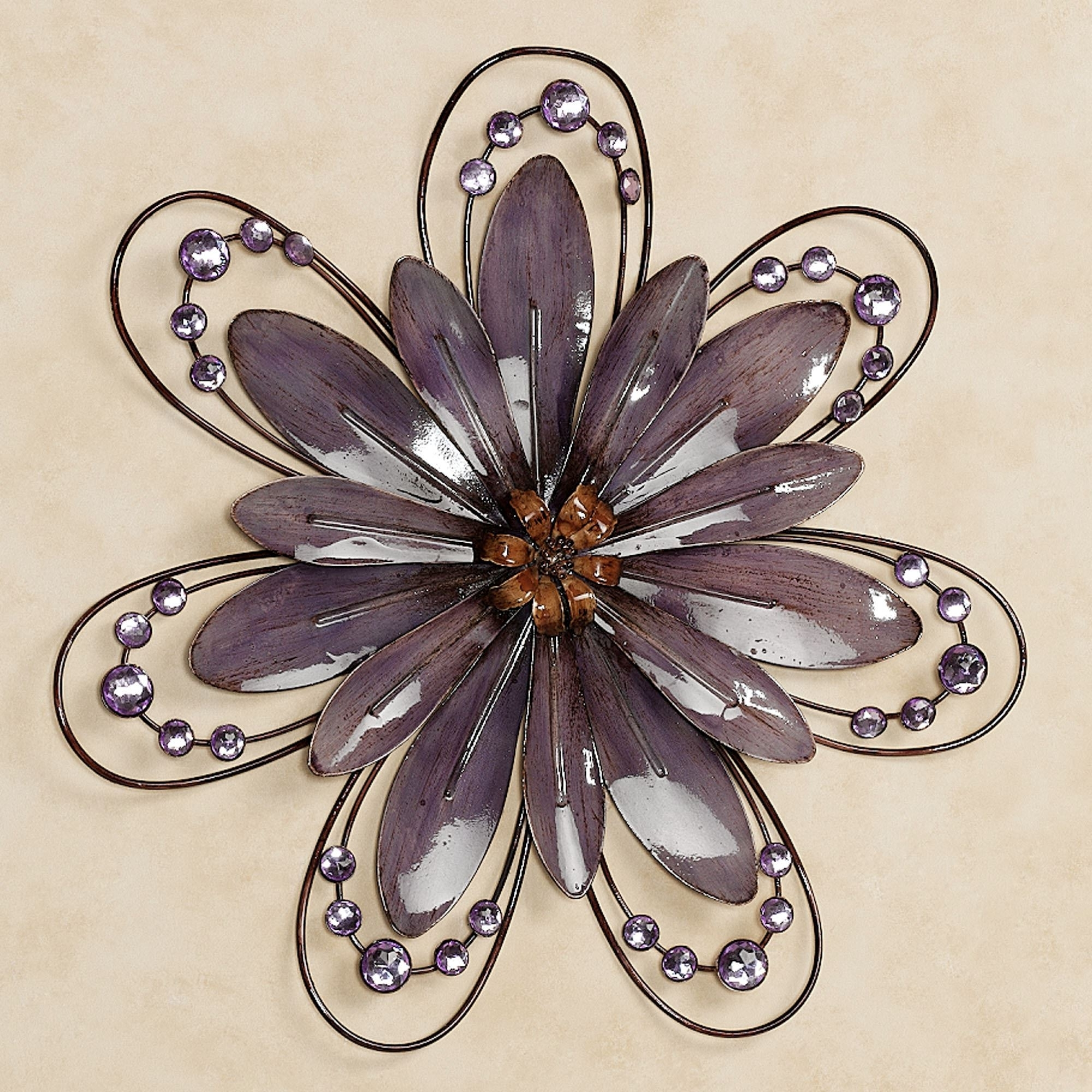 Well Known Purple Floral Gem Metal Wall Accent In Purple Flower Metal Wall Art (View 15 of 15)