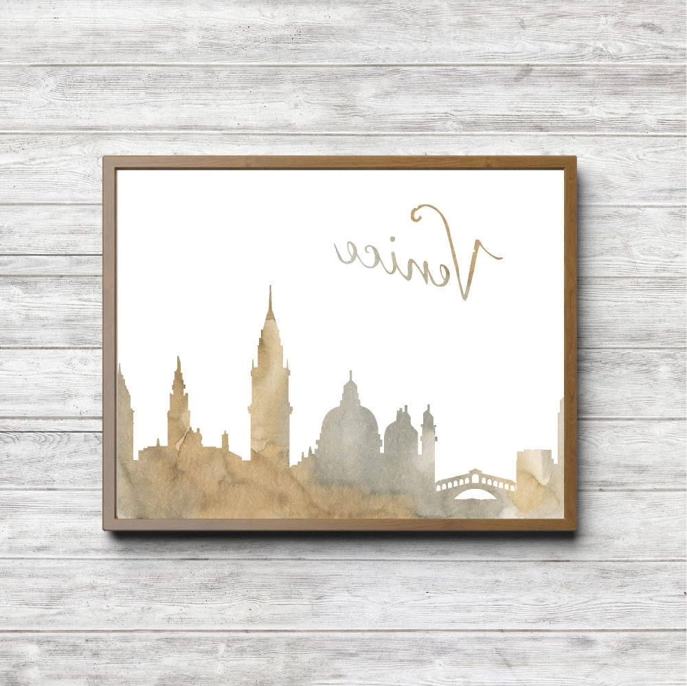 Well Known Rustic Watercolor Venice Italy Skyline Print Gender Neutral Within Italian Cities Wall Art (View 14 of 15)
