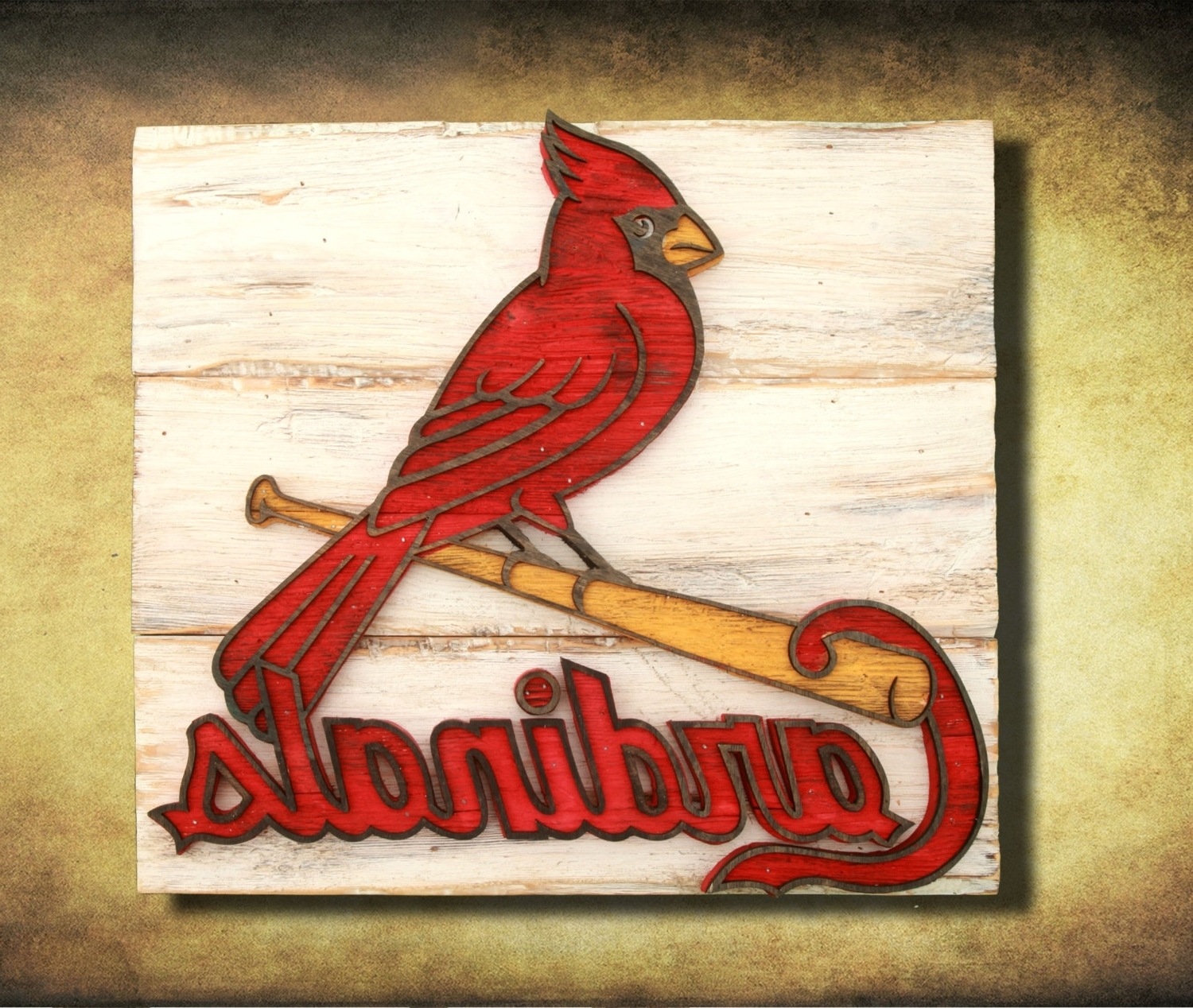 Well Known Saint Louis Cardinals Handmade Distressed Wood Sign, Vintage, Art Inside Vintage Baseball Wall Art (View 15 of 15)