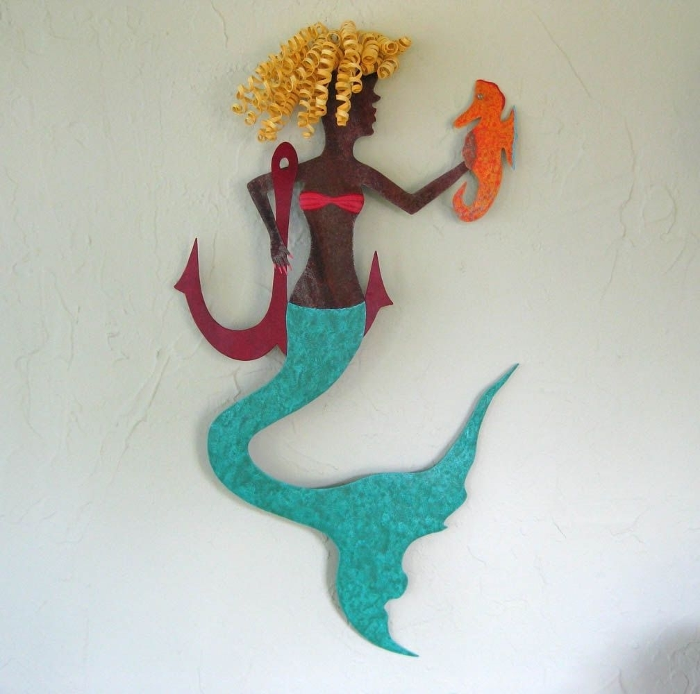 Well Known Sea Horse Wall Art Inside Hand Crafted Handmade Upcycled Metal Mermaid With Seahorse Wall (View 15 of 15)