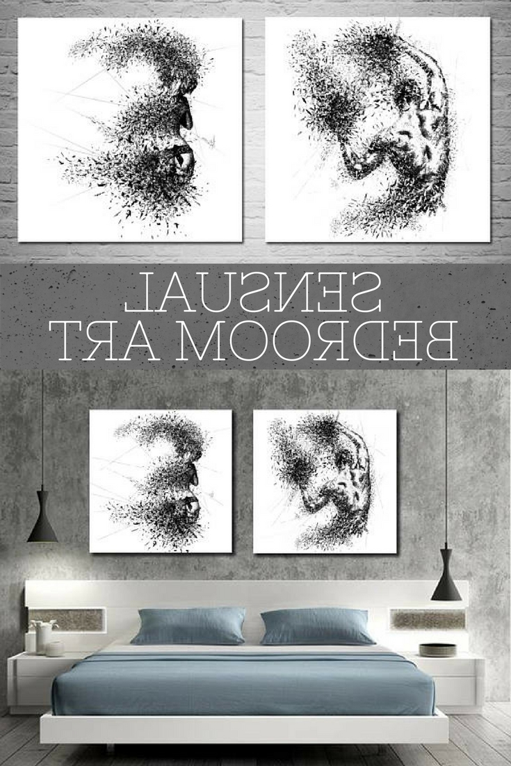 Well Known Sensual Wall Art For Canvas Art Sensual Bedroom Wall Decor, His & Hers Abstract Canvas (View 4 of 15)