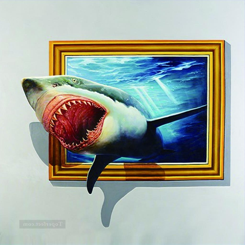 Well Known Shark Out Of Frame 3D Painting In Oil For Sale For 3D Artwork On Wall (View 14 of 15)
